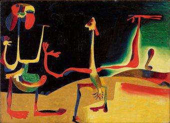 Hombre y muer frente a un montón de excrementos de Miró de la Fundación Joan Miró Barcelona