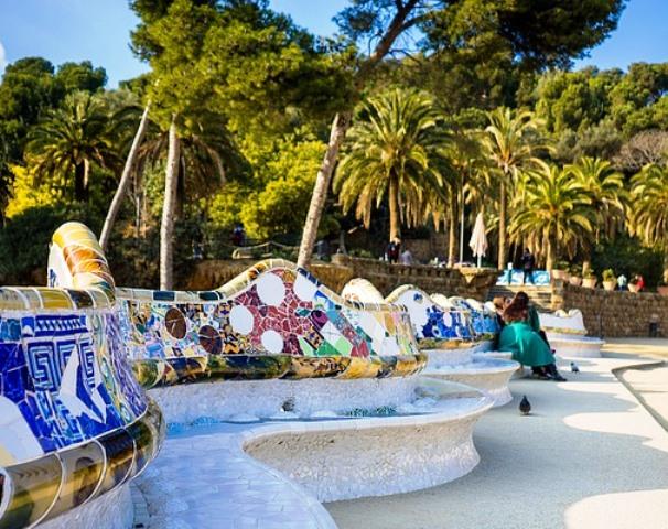 La Plaza de la Naturaleza o Teatro Griego en el Park Güell