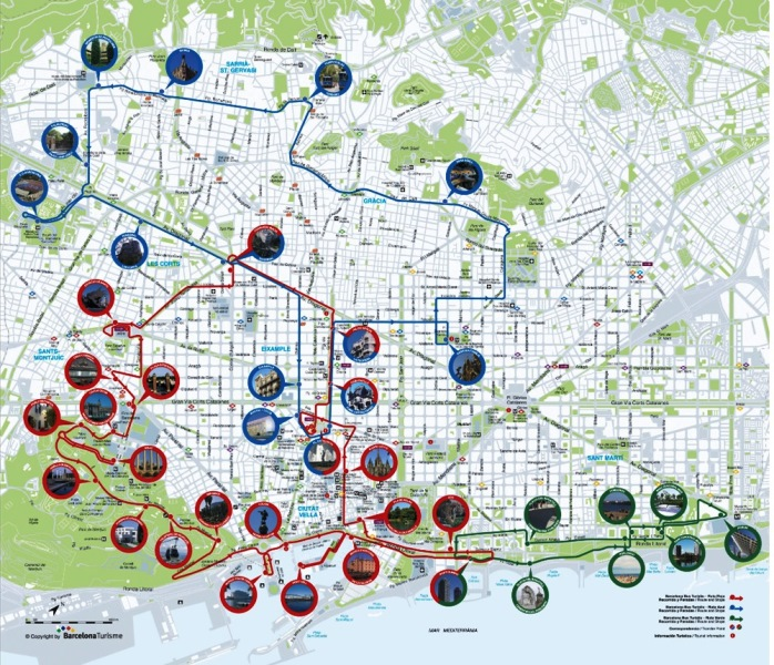 Mapa rutas barcelona Bus Turistic