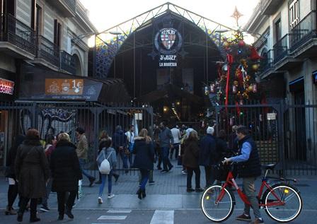 Mercado de la Boquería en Las Ramblas de Barcelona