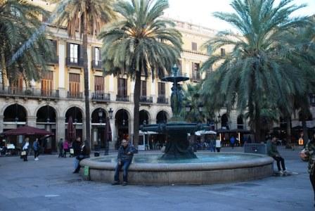 Plaza Real en el Barrio Gótico de Barcelona