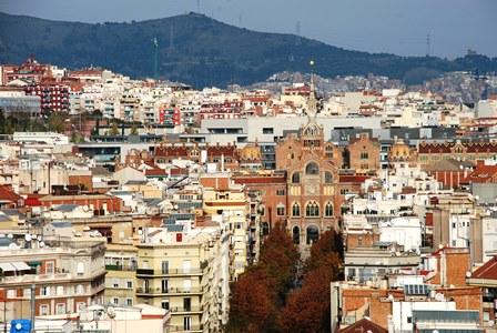 Vistas al Recinto Modernista de Sant Pau desde la Torre del Nacimiento de la Sagrada Familia
