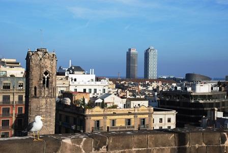 Vistas en 360º desde la terraza de la Catedral de Barcelona en el Barrio Gótico