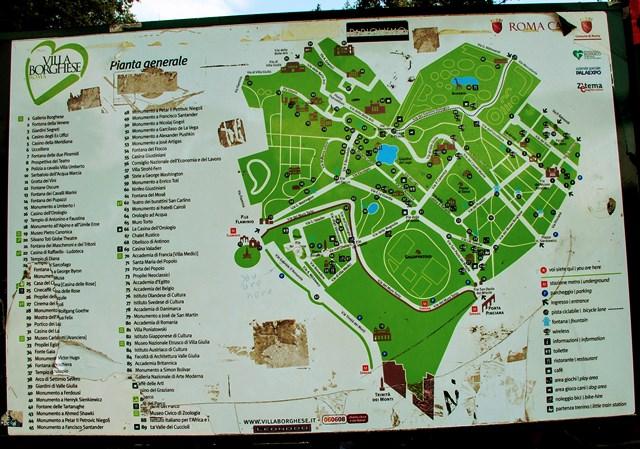 Mapa del Parque de Villa Borghese