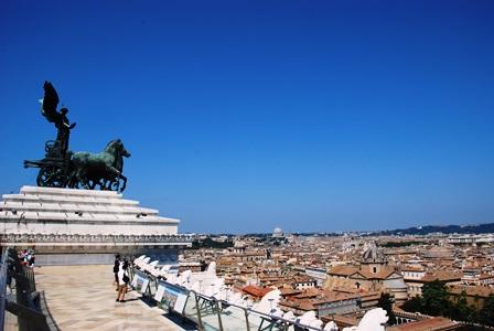 Vistas del Vaticano desde la terraza del Altar de la Patria