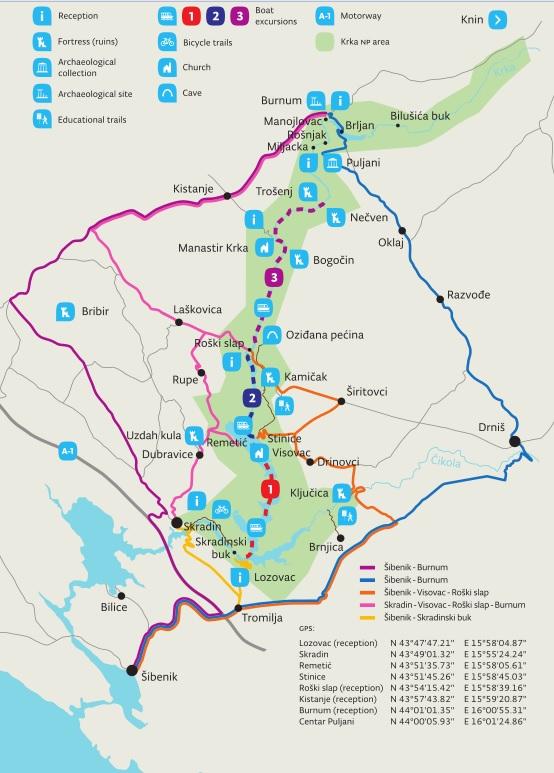 Mapa Parque Nacional de KRKA (Croacia)