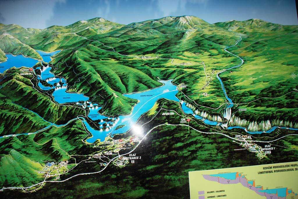 Mapa del Parque Nacional de los Lagos de Plitvice