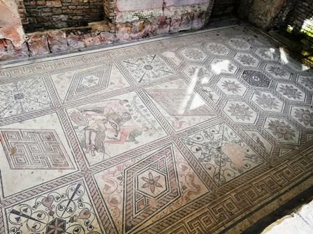 Impresionante mosaico romano con la escena Castigo de Dirce en Pula (Croacia)