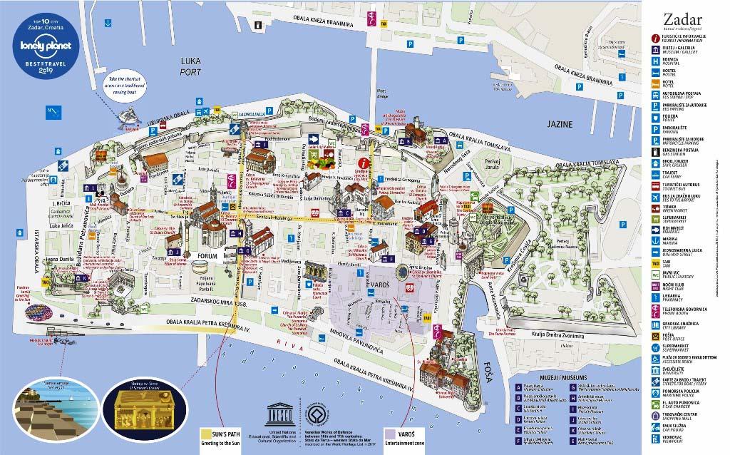 Mapa turístico de Zadar