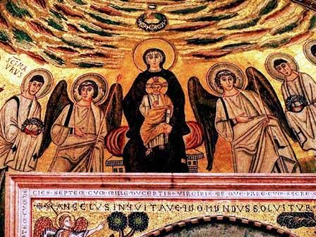 Mosaico de la Virgen María con el niño y los ángeles en la Basílica Eufrásica dePorec