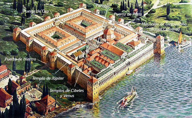 Aspecto original del Palacio de Diocleciano en Split (Croacia)